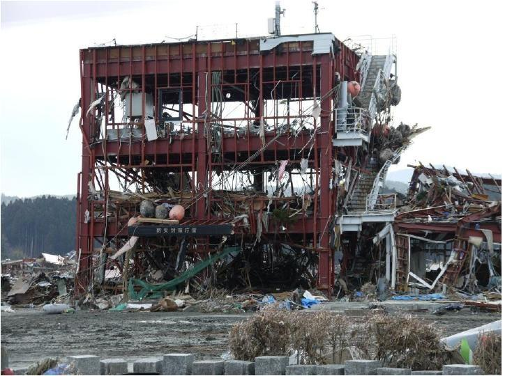 The roof of this building in Minamisanriku, Japan was a designated safe haven, but it proved insufficiently high. Around ten people managed to cling to life there, but twenty others were swept away.
