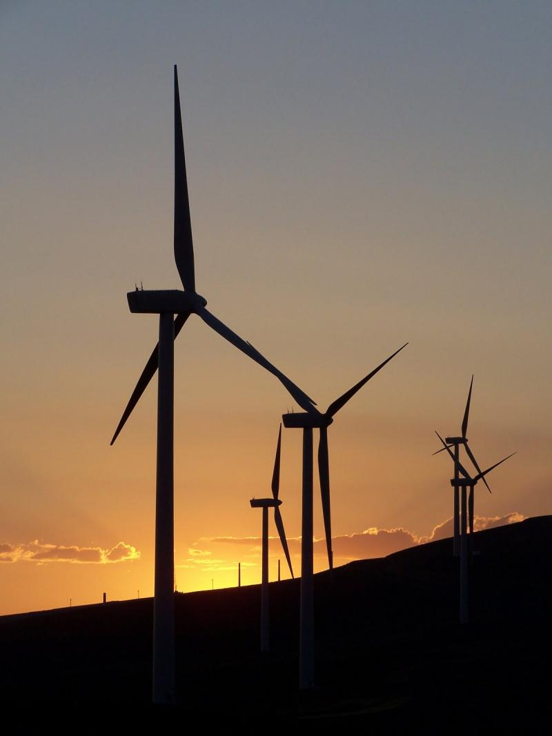 Sunset at the Wild Horse Wind Power Project near Vantage, Wash