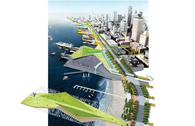 Aerial overview of conceptual ideas for the new Waterfront, looking North.
