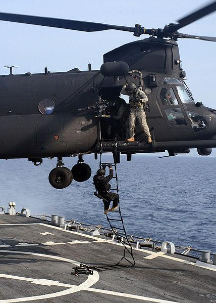 "The U.S. Army's ""Night Stalkers"" fly specially modified Black Hawk and Chinook helicopters."
