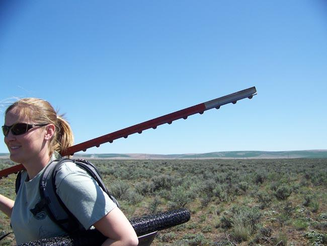 Penny Becker hauls fence building equipment across the vast expanses of sagebrush in order to build temporary enclosures for pygmy rabbits.