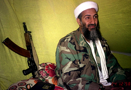 Al-Qaida leader Osama bin Laden speaks to a selected group of reporters in mountains of Helmand province in southern Afghanistan.