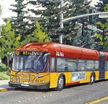 An artist's rendering of the new RapidRide bus service for Bellevue. Will an amendment pass that would add stops serving students of Bellevue College who commute from downtown Renton?