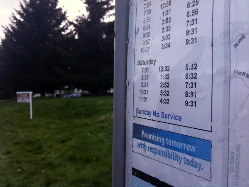 In Snohomish County, transit officials have eliminated Sunday bus service.  So far, Pierce Transit isn't planning to do so, but they are poised to cut schedules by more than a third because there isn't enough sales tax revenue to support existing service.