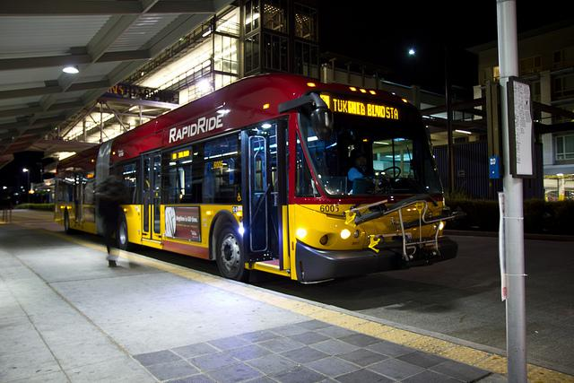 The first in-service RapidRide run, departing the Federal Way Transit Center in October 2011. Bellevue and Redmond are slated to get the next phase of RapidRide bus service starting in October. King County Council votes on the exact routes Tuesday (5-31.)