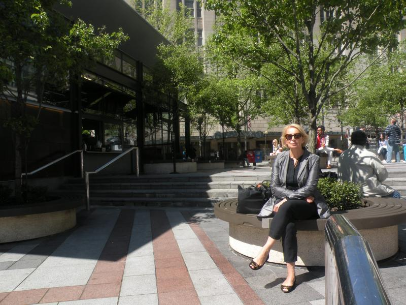 "How peaceful is this scene? Acoustic engineer Brigitte Schulte-Fortkamp finds Seattle's Westlake Park ""too noisy"" to enjoy a leisurely cup of coffee."