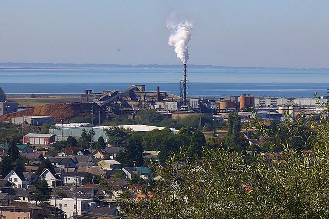 Hoquiam's skyline, in better days.  Grays Harbor Paper is closing its mill there, eliminating 240 'green' jobs in a county with unemployment already at nearly 15%.