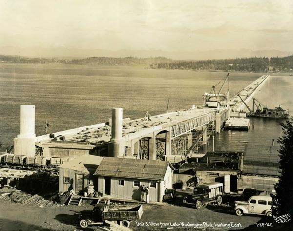 The nearly completed first Lake Washington Floating Bridge carried U.S. Highway 10, now Interstate 90.