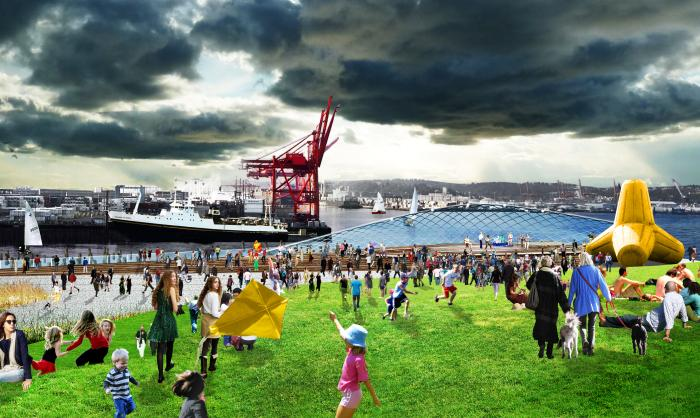A rendering of what designers could do with Pier 48 on the Seattle waterfront after the Alaskan Way Viaduct is demolished. This is one of several ideas that will be presented at an event Thursday, May 19, 2011 at Bell Harbor Conference Center.