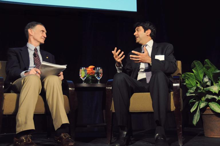 University of Washington Computer Science Professor Ed Lasowska (l) interviewing his friend, Aneesh Chopra, the United States' Chief Technology Officer. Chopra keynoted the annual Technology Alliance State of Technology luncheon this week in Seattle.