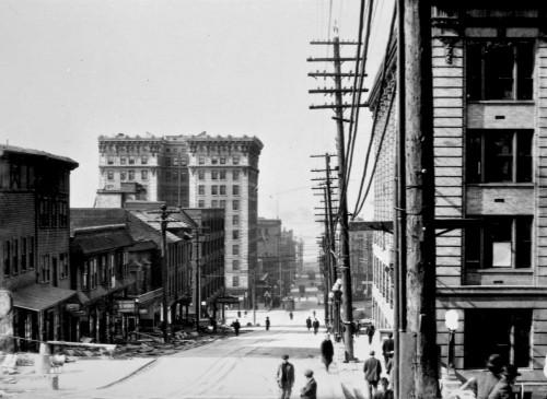 The Frye in 1912, looking west down Yesler Avenue.