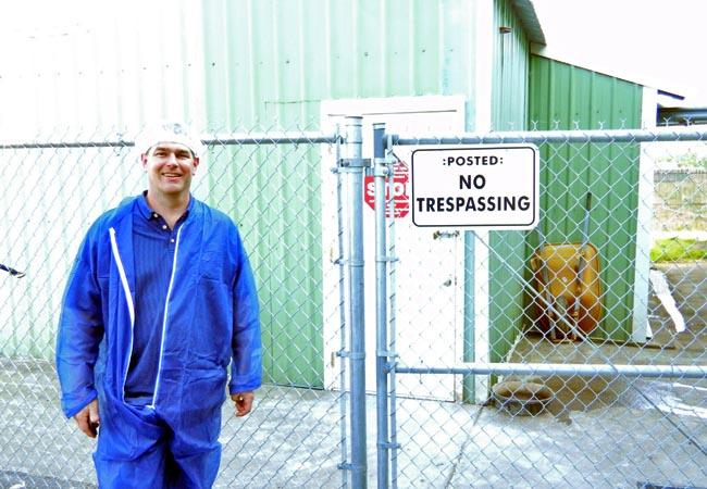 Greg Satrum stands outside of one of the chicken houses at Willamette Egg Farms near Canby, Oregon.
