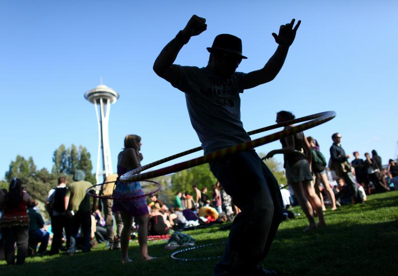 Cody Olesen hula hoops during the Northwest Folklife Festival. The festival began on Friday and runs through the Memorial Day weekend ending on Monday.