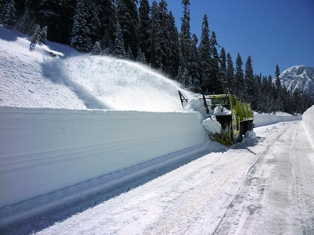 A D.O.T. snowblower plows the roadway near Rainy Pass on the North Cascades Highway (State Route 20) last Friday.