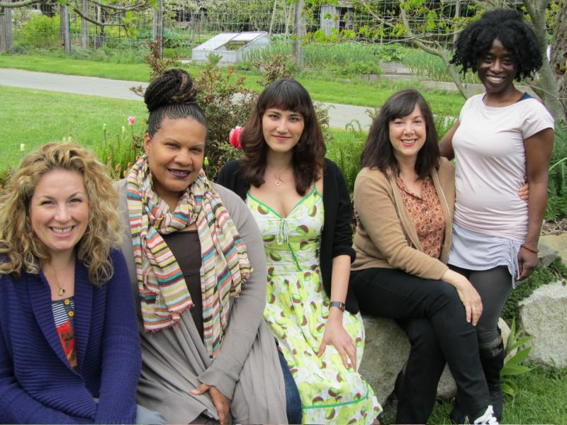 "Hedgebrook's website say that it ""supports a growing global community of women writers from all over the world with residencies at our retreat."" Left to right: Molly Smith Metzler, Radha Blank, Susan Soon He Stanton, Lisa Loomer, Alva Rogers."
