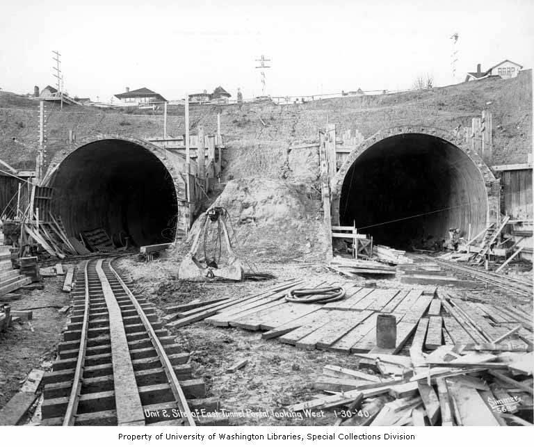 Work on the Mount Baker Tunnel well underway, January, 1940.