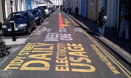 The inspiration for the energy use street painting came from Brighton, UK, where it looked like this.