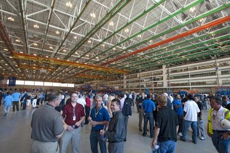 Boeing South Carolina teammates, elected officials and representatives from community and business groups, suppliers and subcontractors tour the new 787 Dreamliner Final Assembly building in North Charleston, S.C. during the building's opening ceremony.