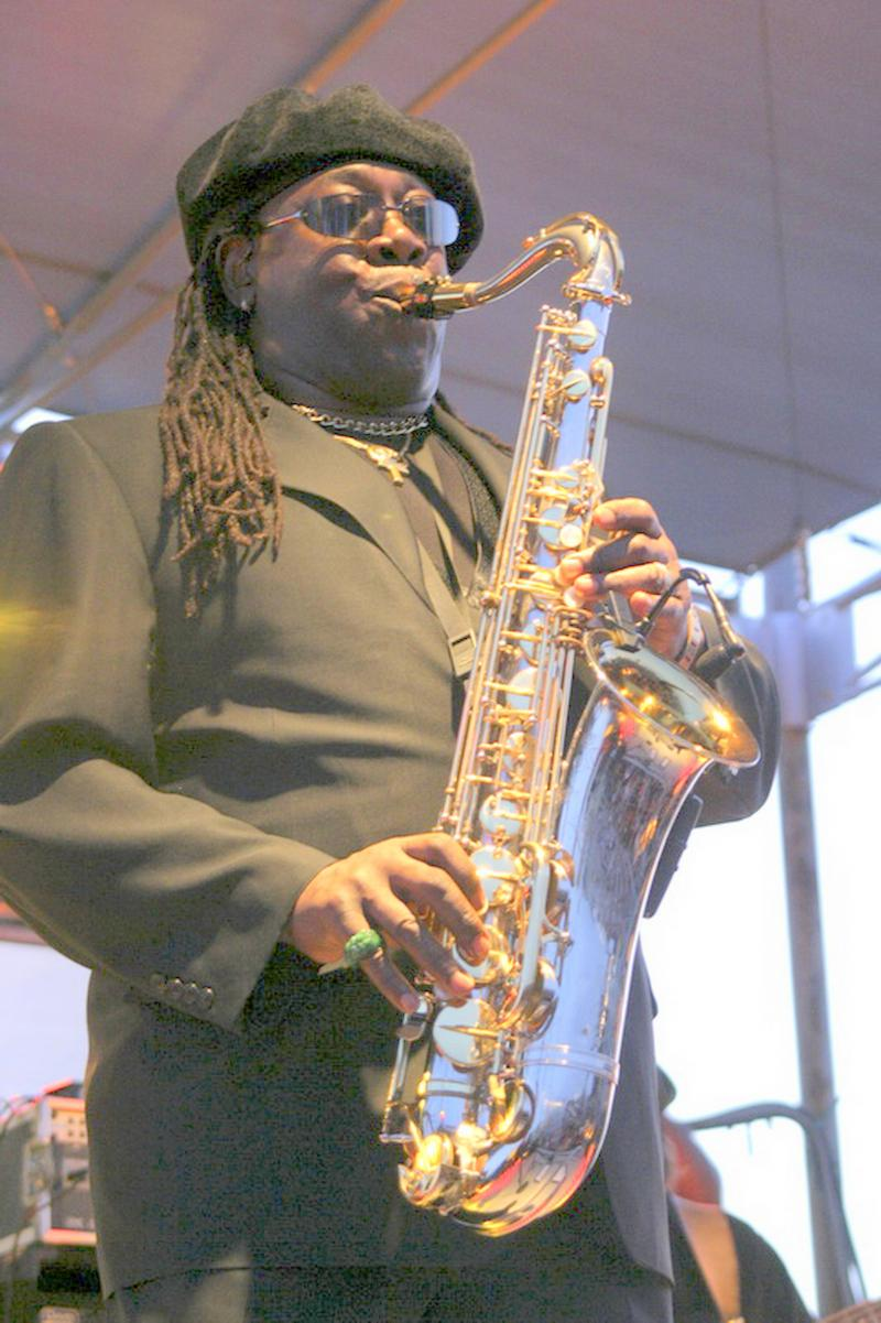 "Clarence Clemons, shown in this July 3, 2004 photo provided by the Stone Pony, performs at the Stone Pony. The larger-than-life saxophone player who helped catapult Bruce Springsteen to rock fame, was known as ""The Big Man."""