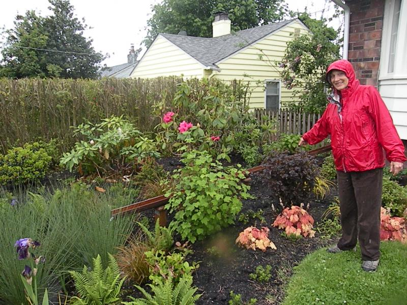 """Anne Butler, Community Education Programs Coordinator with People for Puget Sound, shows off a """"Rain Wise"""" garden in Seattle's Ballard neighborhood.She says the native plants and troughs that replaced a lawn here filter runoff naturally."""