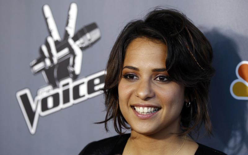 "Finalist Vicci Martinez poses for photographers after the finale of ""The Voice"" in Burbank, Calif., on Wednesday.  Javier Colon was named the winner."