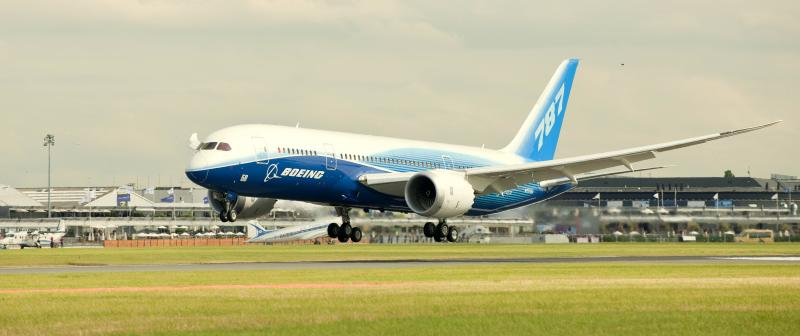 Captain Mike Carriker, chief pilot for the 787 program, brought ZA001, the first 787 Dreamliner, into Le Bourget Air Field on Tuesday in support of the Boeing display at the Paris Air Show.