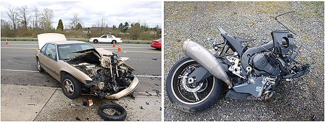 The scene of an accident between Sgt. Tyler Huber's Suzuki GSXR 1000 and a car near Puyallup, Wash.