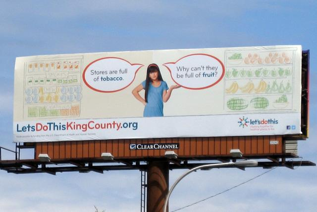 This healthy living campaign is okay for billboards, but not for buses.