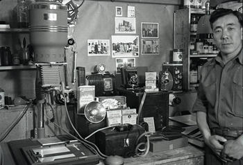 Heart Mountain Internee George Hirahara (shown) created this darkroom in his barracks in the Fall of 1943 by ordering equipment and supplies from Sears and Roebuck catalog.