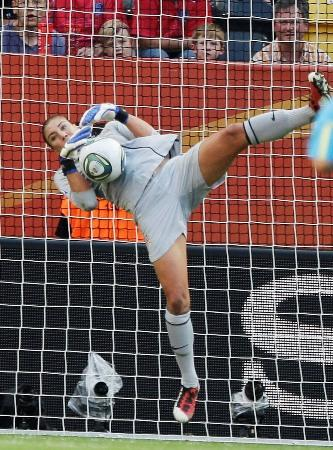 United States and former UW goalkeeper Hope Solo during the dramatic quarterfinal match between Brazil and the U.S. at the Women's Soccer World Cup in Dresden, Germany, Sunday. The American women won the game 5-3 on penalty kicks.