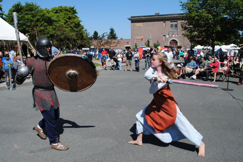 Vikings battles against each other for a great show at the Viking Days celebration.