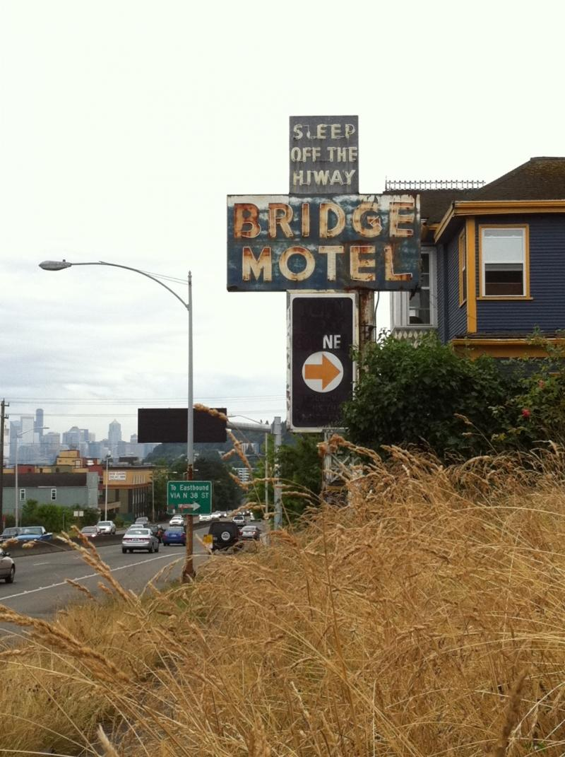"Seattle's ""Bridge Motel"" just north of the Aurora bridge is one of the 1960's motels slated for demolition."