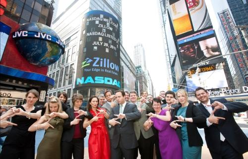 """Z"" is for Zillow! Zillow executives and employees in Times Square celebrating the first day of trading on the NASDAQ."