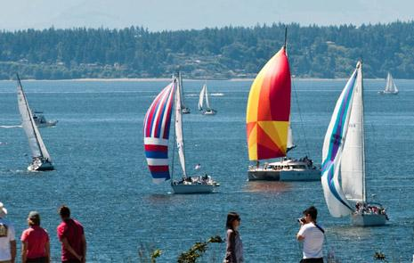 The gorgeous Puget Sound. People are taking advantage of the wonderful sunshine by sailing and just being outside.