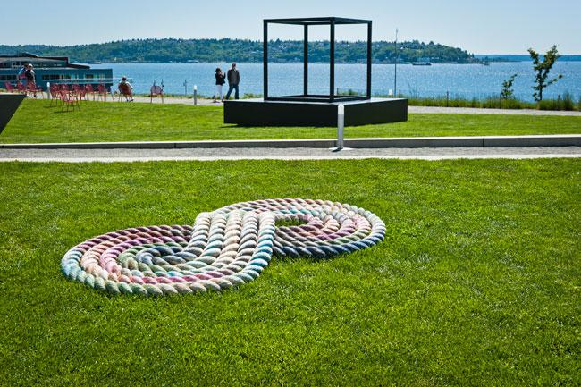"Nicholas Nyland's ""Flemish Lines"" (2011), acrylic on nylon rope. Nyland is one of three local artists being featured during ""Get Out!"" at the Olympic Sculpture Park."