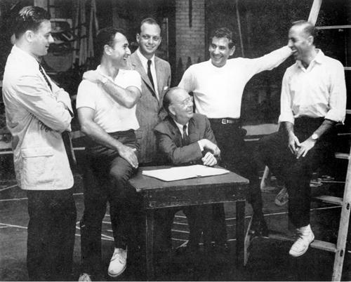 "The ""West Side Story"" creators were (left to right) Stephen Sondheim, Arthur Laurents, Harold Prince, Robert Griffith, Leonard Bernstein and Jerome Robbins."