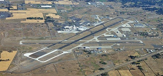 Spokane International Airport viewed from the south. The Airport is in the midst of a major runway reconstruction project.