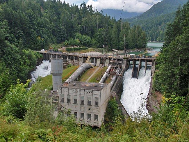 The 108-foot tall Elwha Dam is the smaller of the two dams on the Elwha River slated for demolition.