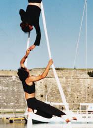 The amazing French sailor/acrobat couple will be performing high-wire acts on their 40 ft. sailboat!