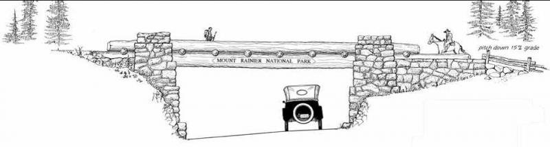 The Chinook Pass Entrance Arch, as drawn by the staff of the Historic American Engineering Record.