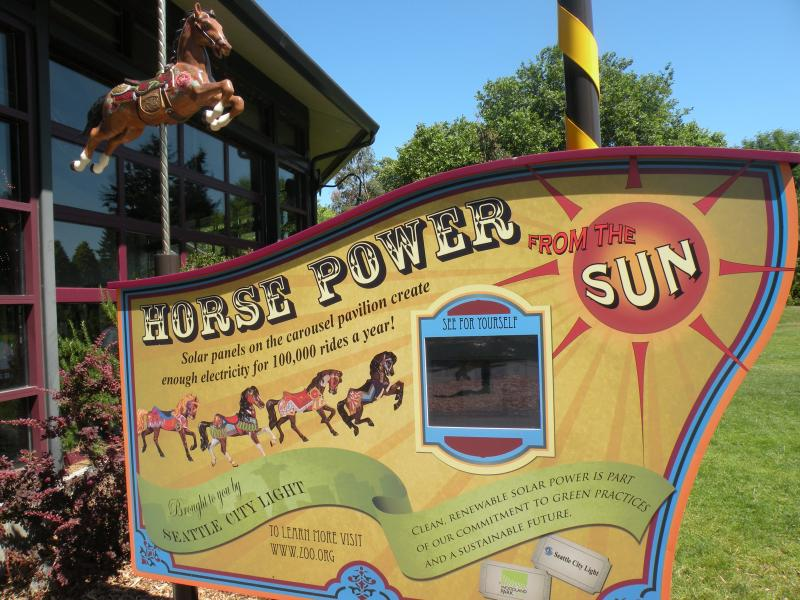 Outside the solar-powered carousel at Woodland Park Zoo, visitors can see how much power is generated and used. The solar panels on the roof have exceeded expectations in the six months since the demonstration project went online.