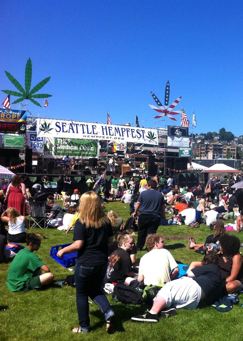 Just hours after opening Friday afternoon, Seattle's 20th Hempfest – with booths, venues and concert stages stretching the entire length of Myrtle Edwards and adjacent parks – quickly drew a crowd. (More photos inside.)