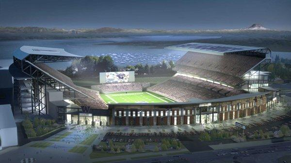 Future Husky Stadium at night