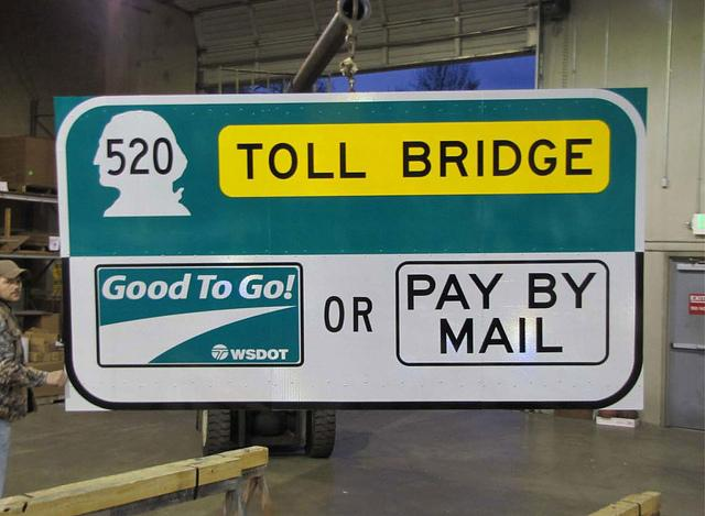 An example of the signs that will be installed to let drivers know the SR 520 bridge is a toll bridge - starting in December. A trip during rush hour will cost $3.50 each way.