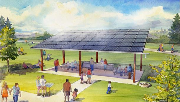 Architectural Illustration of the design for solar power generation atop a picnic shelter at Beacon Hill's Jefferson Park.