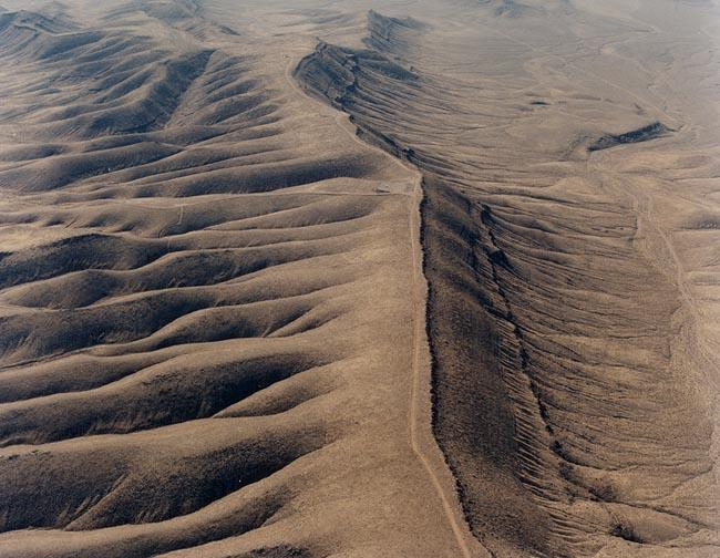 An aerial view of north end of the Yucca Mountain crest in February 1993.