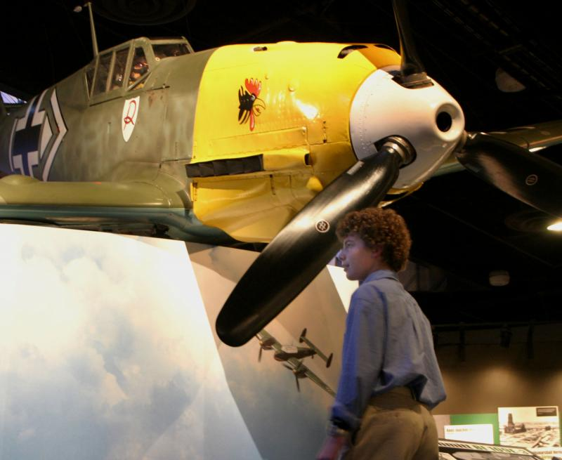 A student at Aviation High School takes a look around the Museum of Flight after class in 2004.