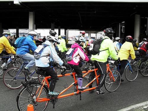 Participants in the Cascade Bicycle Club's Chilly Hilly ride, gathering at Seattle's Coleman Dock for the ferry trip to Bainbridge Island. Feb 27, 2011