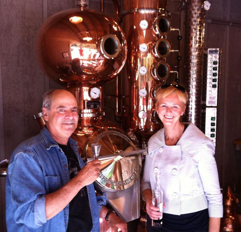 With Suzy Pingree by San Juan Island Distillery's 200 liter Adrian copper still.