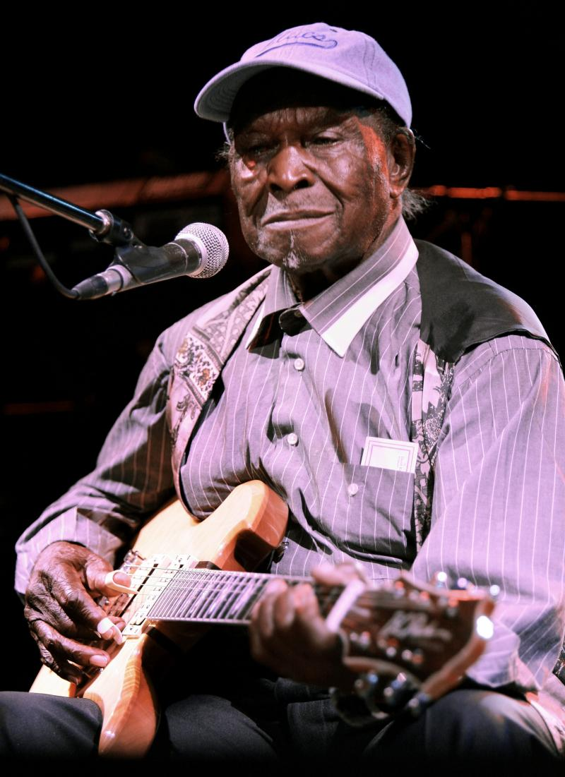 "Legendary blues artist David ""Honeyboy"" Edwards is shown during a performance at B.B. Kings Blues Club in New York in 2005. Edwards died Monday."